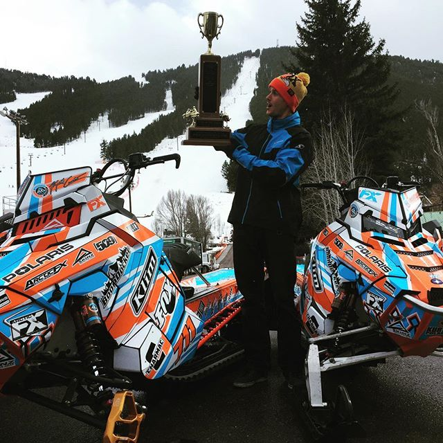 Curtis with his 800 and 600cc Pro Rmk with his King of the Hill Trophy PHOTO: Ridefox