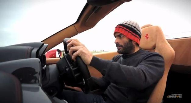 Shot of Harris driving the 458 Spider Photo: inautonews