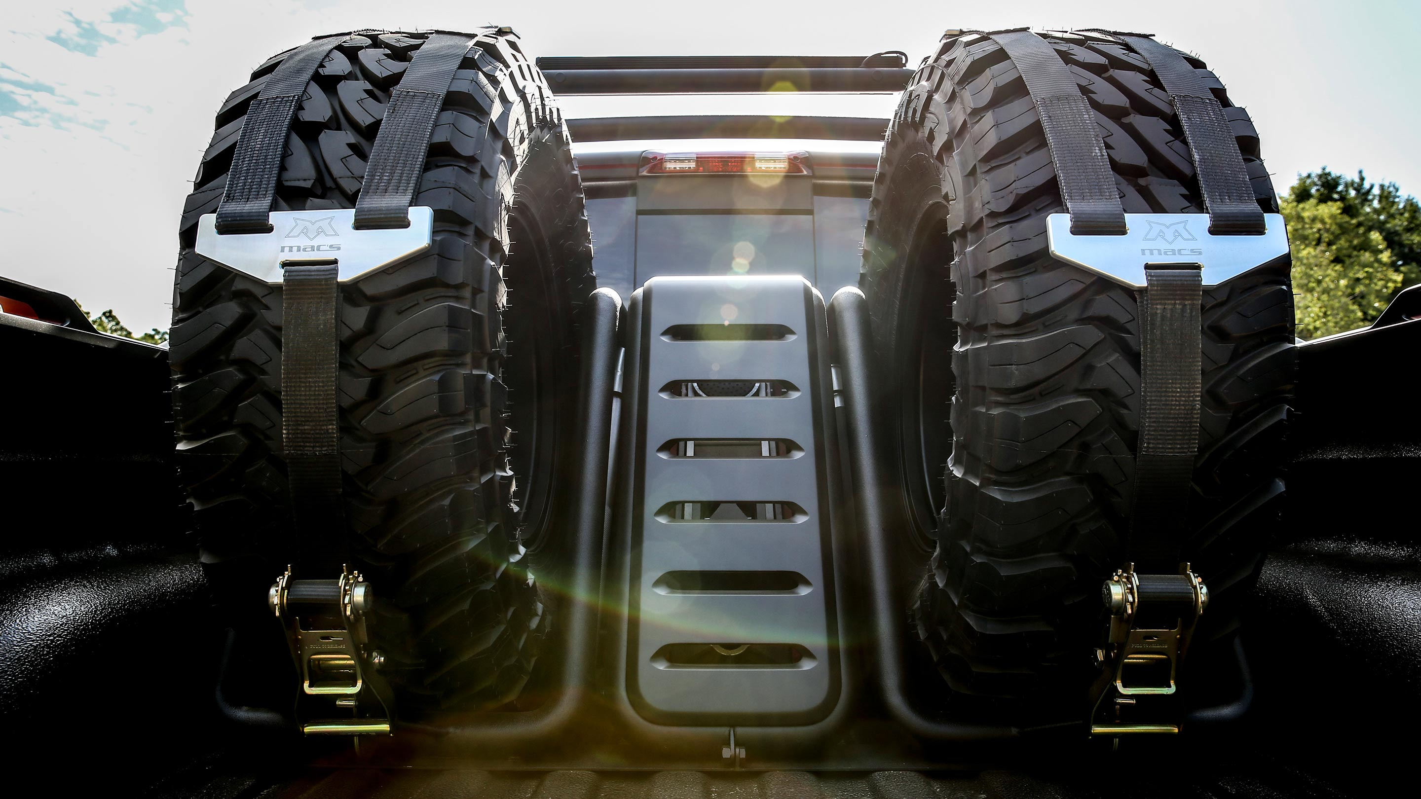 Badass looking tire rack in the bed of the truck Photo: ramtrucks
